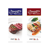 Eight foot tall restaurant banners and photography for Connors Steak & Seafood.
