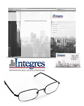Startup branding, SEO, logo design, web design and business cards for Integres. Website is #1 in search engines.