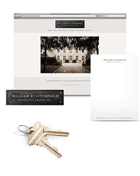 Startup marketing package for William B. Litchfield Residential Designs, including architectural photography, web design, logo design, letterhead design and a press release.
