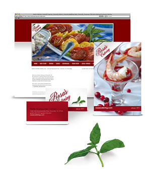 Marketing package for Rosa's Catering, including rebranding, web design, SEO, food photography, advertisement design and catering brochure. Website is #1 on search engines.