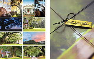 "Photographed, designed and produced 10-piece postcard sets for a historic plantation bed and breakfast in South Carolina.  Each 5.5 x 8.5"" postcard includes a detailed caption on the address side, and each set is elegantly packaged in a hand-tied vellum envelope."
