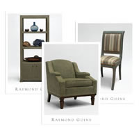 Product sales sheets for the Raymond Goins custom furniture collection.